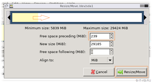 Gparted Resize Partition Free space
