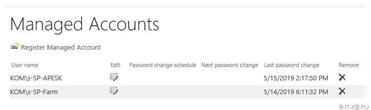 SharePoint Server Managed Account in Central Admin UI