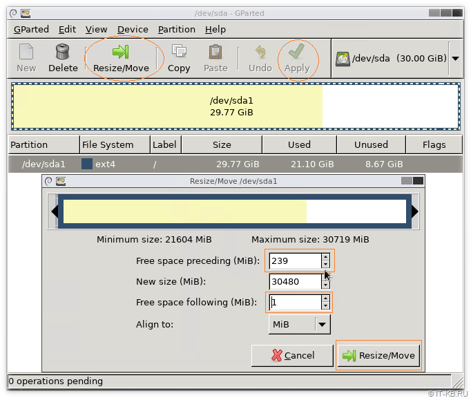 GParted resize or move disk for EFI partition
