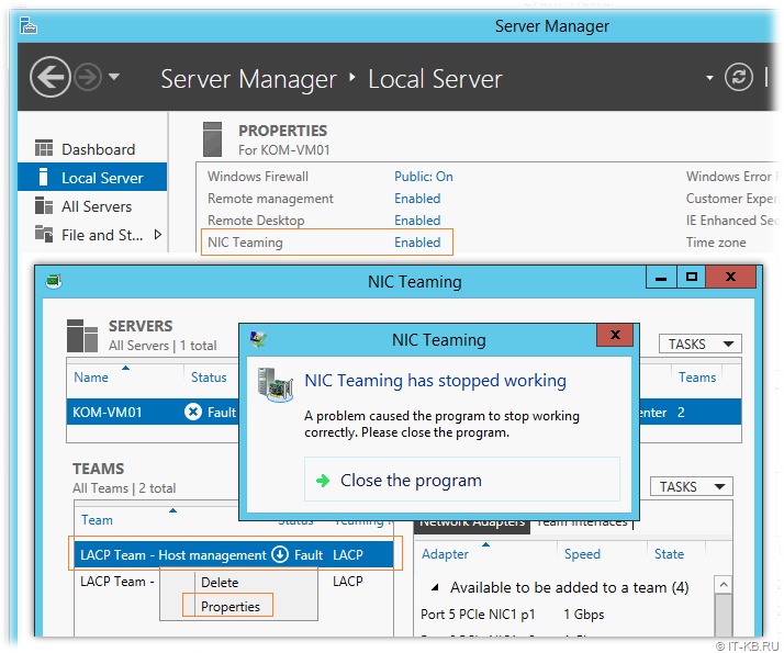 Windows Server 2012 R2 Server Manager NIC Team Error