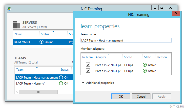 Server Manager LACP NIC Teaming