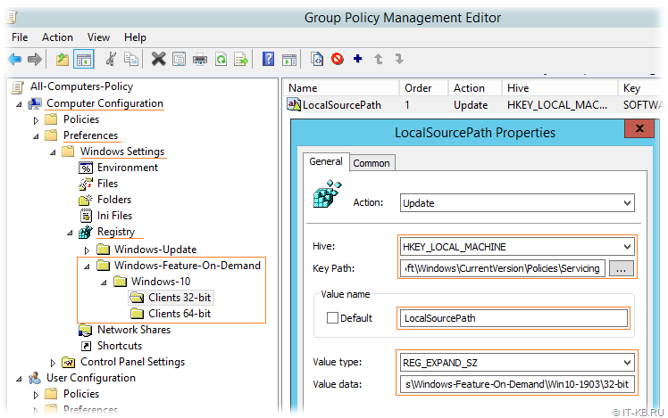 Group Policy Preferences for FOD Source in Local Network