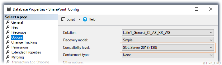SQL Server Compatibility Level for SharePoint Server 2016 RTM