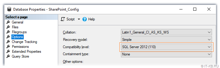 SQL Server Compatibility Level for SharePoint Server 2016 with April 2019 updates