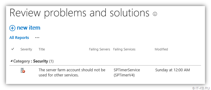SharePoint Health Analyser - The server farm account should not be used for other services