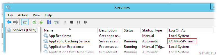 AppFabric Caching Service Run-As account is SharePoint Farm Account