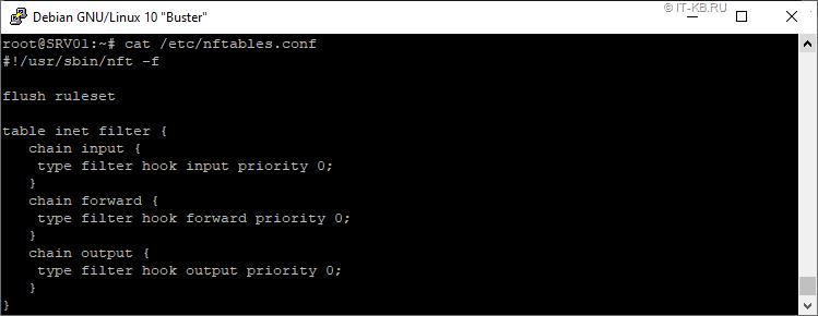 Debian 10 default nftables config