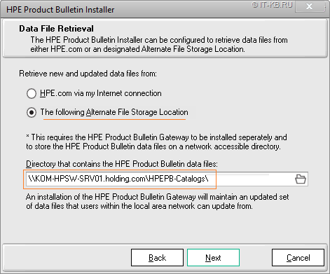 Install HPE Product Bulletin Client with Alternate File Storage Location