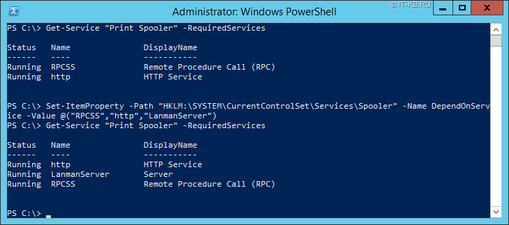 Change Print Spooler Service Dependencies via PowerShell
