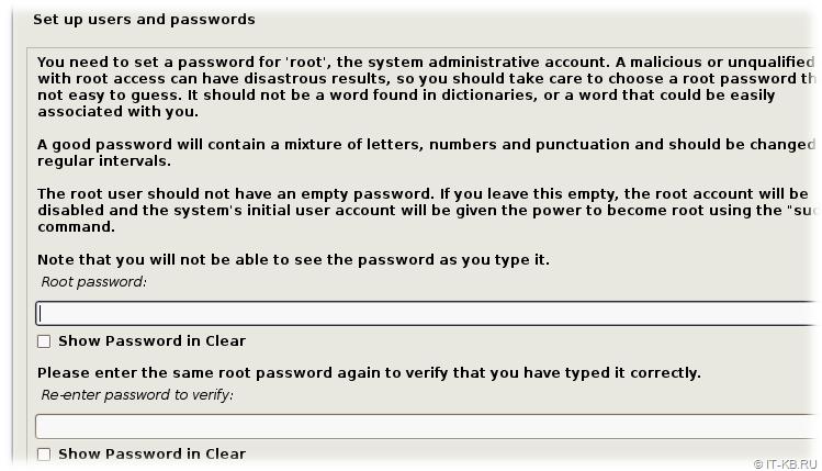 Debian Buster Installation - root user password