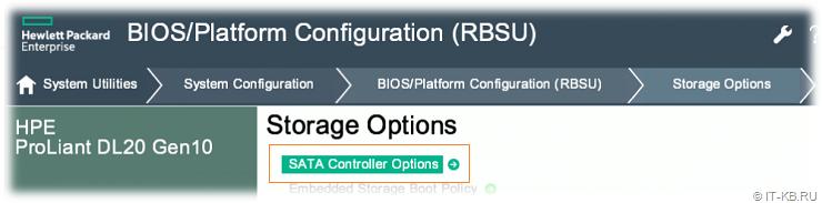 HPE ProLiant RBSU SATA Controller Options