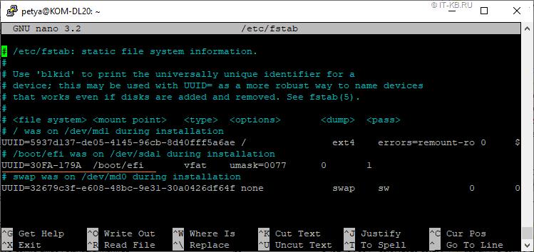 Check fstab settings for ESP UUID