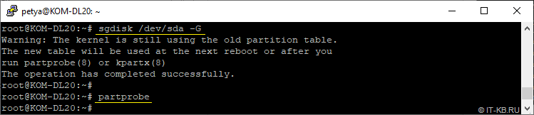 Regenerate GPT PARTUUID with sgdisk