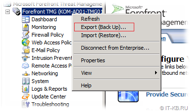 TMG Backup Export