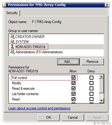 Backup folder NTFS perms