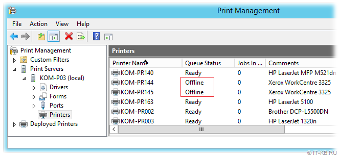 Offline printers in Print Management console