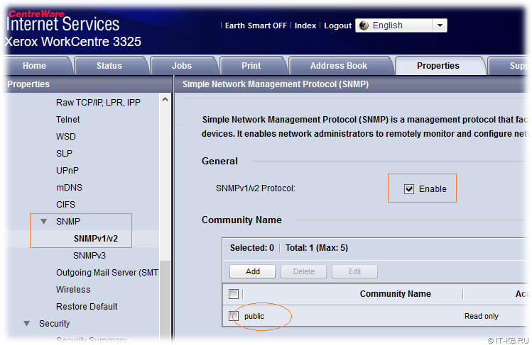SNMP Settings on Xerox WorkCentre 3325