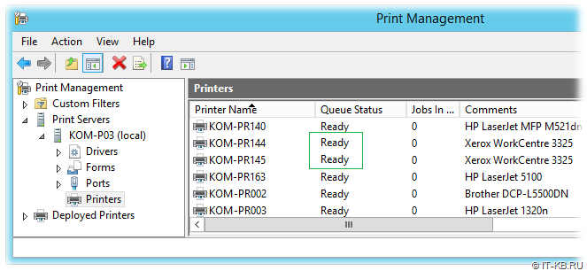 Ready Printers in Print Management console