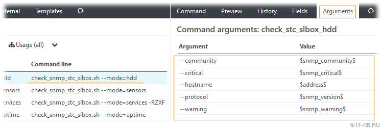 Set Icinga Command Arguments in Icinga Director for SLBox HDD monitoring