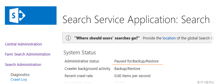 SharePoint Search Service Application in Paused for Backup Restore State