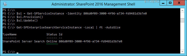 Provision Service Instance in SharePoint 2016 Management Shell