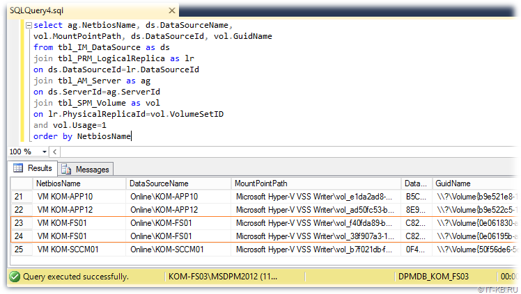Get DPM mout point and Volumes GUID for Data Source in Protection Groups