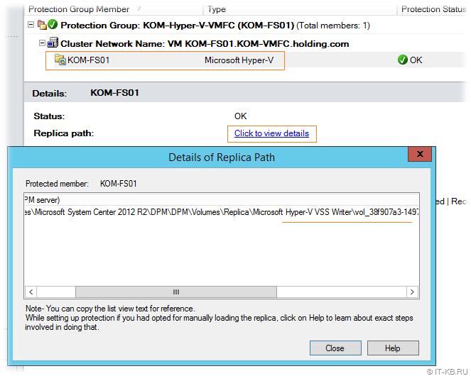 Check Replica Volume Path in DPM Administrator Console