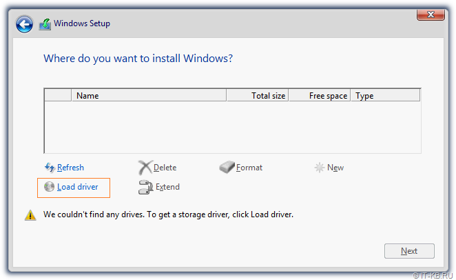 Windows Server 2012 R2 Setup - We couldn't find any drives