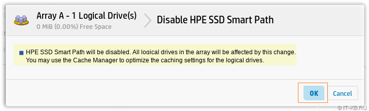 Disable HPE SSD Smart  Path