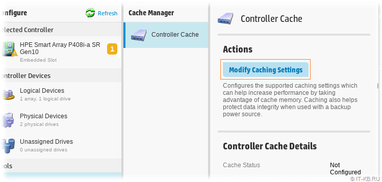 HPE SSA - Cache Manager Settings