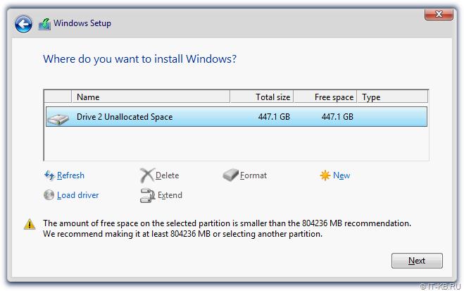 Windows Server 2012 R2 Setup - Select RAID Volume for OS installation