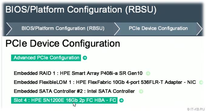 HPE ProLiant Gen10 BIOS Platform Configuration RBSU - Select PCIe Device