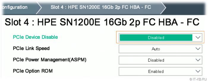 HPE ProLiant Gen10 BIOS Platform Configuration RBSU - Disabled PCIe Device