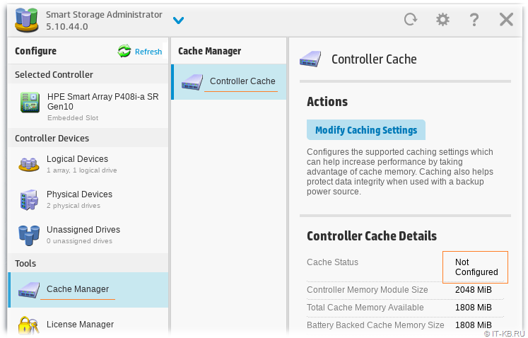 HPE Smart Storage Administrator - Smart Array Controller Cache Not Configured