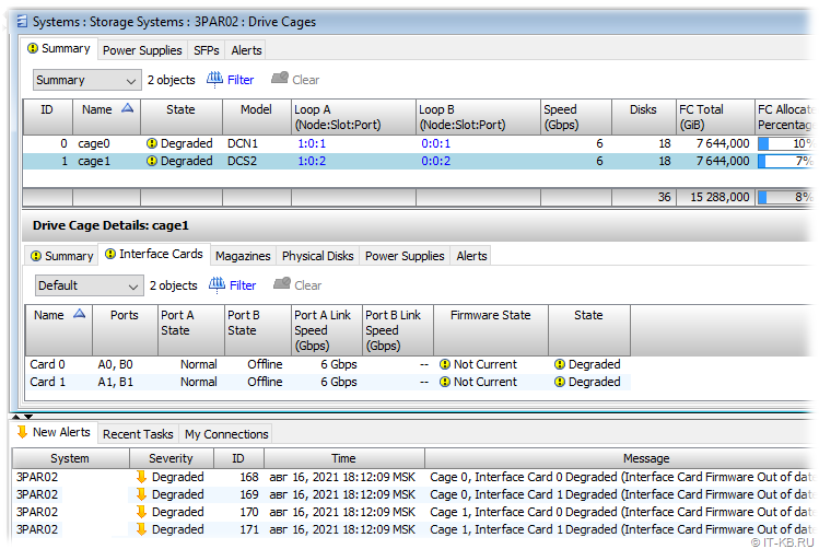 3PAR Management Console - Gage Firmware State - Not Current and Degraded