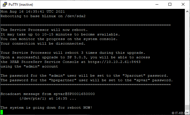 HP 3PAR Service Processor Menu - Upgrade 4.5 to 5.0.3 - Reboot VSP