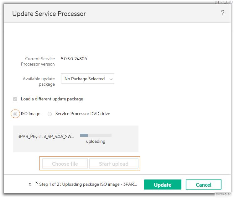 3PAR Service Console - Update VSP - Start Upload ISO-image