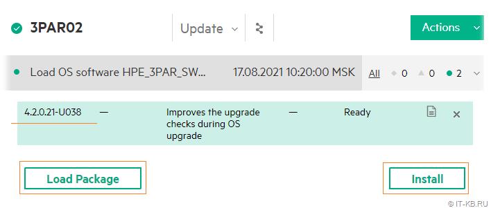 3PAR Service Console - Update 3PAR OS - Load Update Tool Package
