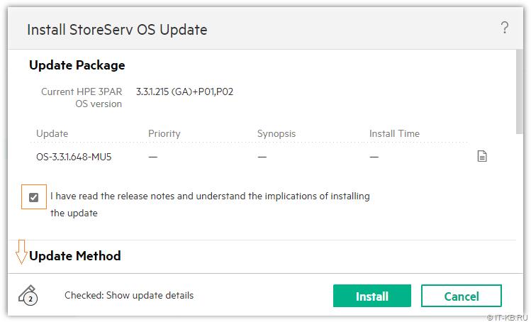 3PAR Service Console - Update 3PAR OS - I have read the Release Notes