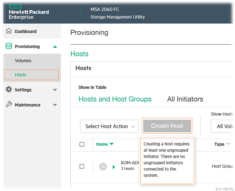 HPE MSA 2060 Storage Management Utility - Create Host Inactive - There are no ungrouped initiators connected to the system