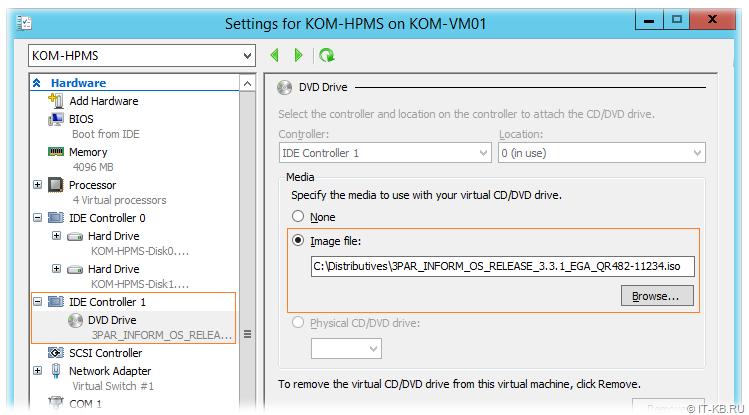 Load ISO-image for 3PAR VSP in Hyper-V Manager