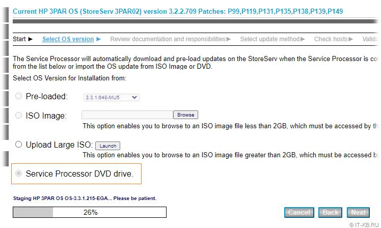 HP VSP SPOCC - Update HP 3PAR OS - Load ISO-image