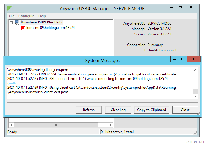 AnywhereUSB Manager - Show log in System Messages