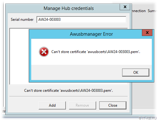 AnywhereUSB Manager - Can't store certificate