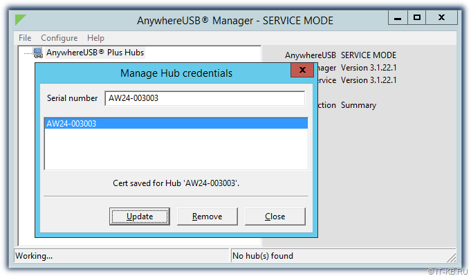 AnywhereUSB Manager - Add Hub credentials
